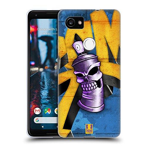 Head Case Designs Totenkopf Spraydose Monster Soft Gel Hülle für Google Pixel 2 XL