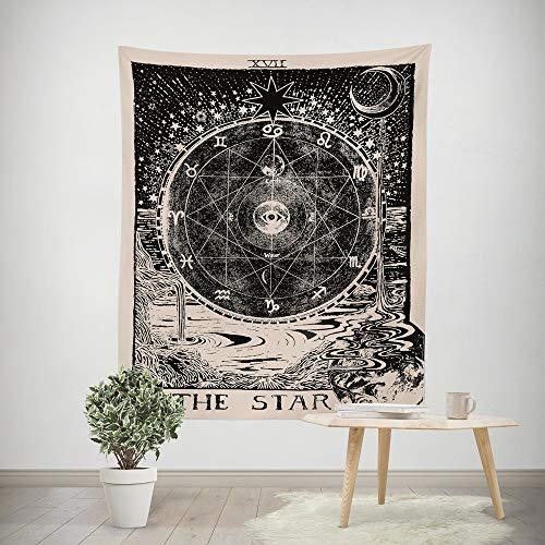 Qmber 2019 Mandala Tapetsry Hippie Wandbehang Schwarz Weiß Boho Wandteppich Wandteppich Home Decor Sun and Moon Tapestry Tarot Tapices Tunika Tischdecke/A,150X200CM
