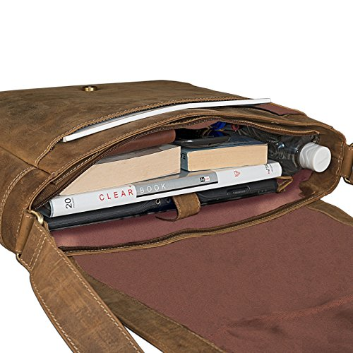 STILORD Borsa a tracolla Messenger Bag Laptop College Bag Borsa per l'università in vera pelle pelle , Colore:marrone scuro marrone medio