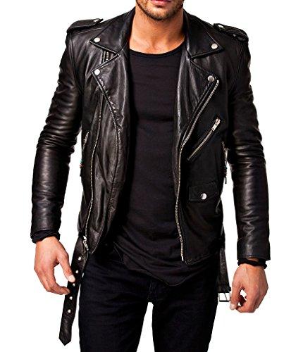 Leather4u Chaqueta de cuero para hombre, piel de vaca, Negro KL305 XXL