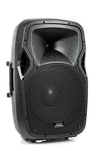 "QSM PA Soundanlage Aktiv Box Akku Sound System Portable 15"" Zoll Lautsprecher l Bluetooth, SD, USB, FM-Radio, AUX, MP3 l GRATIS wireless Mikrofon und GRATIS Ständer Stativ 600 Watt (Peak) (Mini-pa System)"