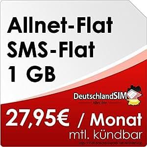 DeutschlandSIM Flat M [SIM und Micro-SIM] monatlich kündbar (1GB Daten-Flat, Telefonie-Flat, SMS-Flat, 27,95 Euro/Monat) Vodafone-Netz