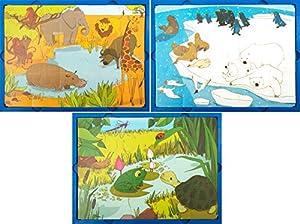 Learn and Play Aprende y Juega 27,5 x 19 cm Animales de The Puzzle World Soft (Set de 3)