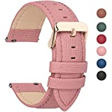 Fullmosa 6 Colors for Quick Release Leather Watch Strap, Cross Genuine Leather Watch Band 18mm Pink