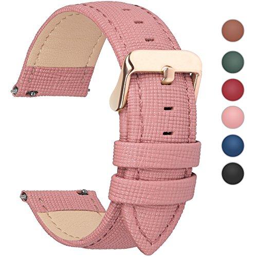 Fullmosa Uhrenarmband 18mm, Cross Serie Echtes Lederarmband Ersatzband Smart Watch Armband mit Edelstahl Metall Schließe 18mm Pink