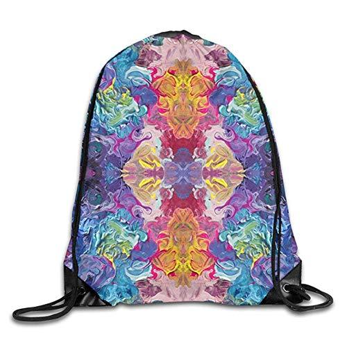 HLKPE Acrylic Rainbow Flow Abstraction Gym Sport Bag Drawstring Bag Backpack Draw Cord Bag Men Women Gym Sport Yoga Dance Travel