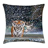 VYPHN Nature Throw Pillow Cushion Cover, Image of a Large Majestic Wild Tiger in The Waterfall Exotic Wildlife Animal in Nature, Decorative Square Accent Pillow Case, 18 X 18 inches, Multi