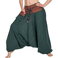 Zarlena Pantalones de mujer smocked waist boho yoga hippie Thai Style Harem Pants