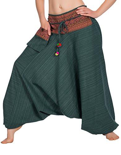 Zarlena Taille smockée Boho Pantalon de Yoga Women`s Hippie Style thaïlandais Sarouel 772