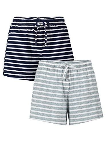 Genuwin Damen Schlafanzughose Kurze Jerseyhose Shorts Pyjamahose aus Baumwolle weich & bequem, 2er Pack (M, Dunkelblau + Hellgrau)