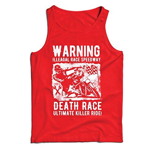 Canottiera da Uomo Senza Maniche la Corsa alla Morte - L'Ultimo Killer Ride, Motociclismo, Motociclista, Classico - Vintage - Moto retrò (Medium Rosso Multicolore)