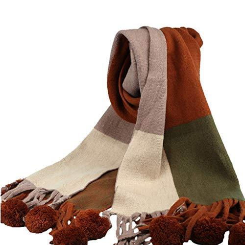 Nosterappou Confortable, léger, couleur assortie, gilet boule, foulard rétro femme hiver, grand bavoir sauvage et décontracté, collier étudiant, convient aux jours froids, peut être utilisé comme cade