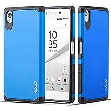 Sony Xperia Z5 Funda, J&D [Armadura Delgada] [Doble Capa] [Protección Pesada] Híbrida Resistente Funda Protectora y Robusta para Sony Xperia Z5 – Azul
