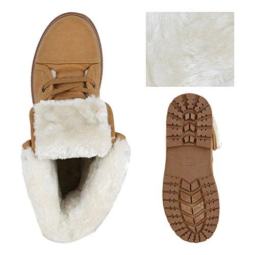 Warm Gefütterte Damen Stiefeletten Worker Boots Outdoor Schuhe Hellbraun