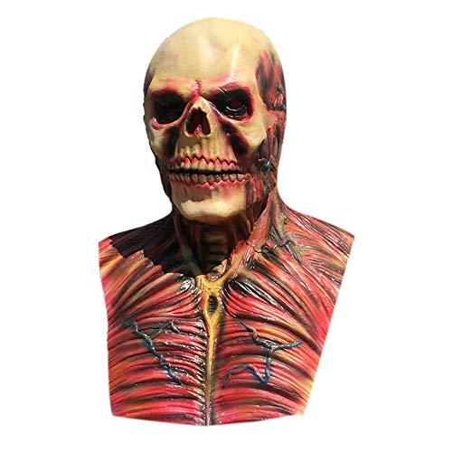 WHFDRHWSJMJ Halloween Maske LED Light Horror Maske Latex Super Scary Schädel Halloween Ungiftig Latex Maske Vollgesichts Erwachsene Atmungsaktive Maskerade Kostümparty Cosplay Kostüm Maske, ()