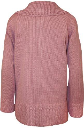 WearAll - Grande taille uni fermeture éclair col pull gilet top tricoté - Hauts - Femmes - Tailles 42 à 56 Rose