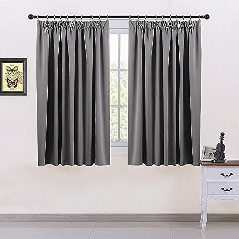 Thermovorhang Blickdicht Vorhang mit Band - PONY DANCE 137 cm x 167 cm (H x B), Grau 1 Paar mit Gardinenband für Kinderzimmer, Energiespar & Wärmeisolierend