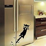 ufengke Katze Eingeklemmt Schwanz Lustigen Cartoon Fenster Auto und Kühlschrank Aufkleber Wandsticker,Wohnzimmer Schlafzimmer Entfernbare Wandtattoos Wandbilder