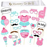 iLoveCos Babydusche Mummy To Be Schärpe Baby dusche Party Baby Flaschen Masken Photo Booth Props Neugeborene Dame Girl Partydekoration (it's a girl)