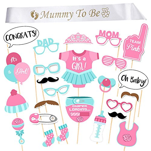 iLoveCos Babydusche Mummy To Be Satin Schärpe Babyparty Baby Shower Masken Foto Booth Props Fotorequisiten Neugeborene Baby Dame Deko partydekoration Set (it's a girl)