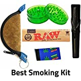 OutonTrip - 4 Inches Clay Chillum,1 Crusher, 1 Mixing Bowl,1 Roach Book, 1 RAW Rolling ((rolling Paper Combo/rolling Paper Set/ocb Combo/smoking Papers Combo)