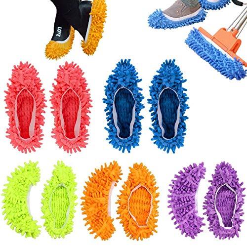 5 Paare Staubmopp Wischmop Bodenreiniger Hausschuhe Schuhreinigung Komfortable waschbar,QILICZ Polieren Staubwischen reinigen Fuß Socken Schuhe Mop Hausschuhe Multifunktion in 5 Farben -