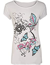 WearAll New Womens Plus Size Butterfly Print Short Sleeve T-Shirt Ladies Baggy Top 14-20