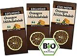 Edelmond Bio Orangen Milchschokolade aus gewalzten Kakaobohnen und luftgetrockneten Orangen. Fruchtiger Geschmack, Fair-Trade