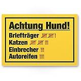 Achtung Hund Strichliste Lustig (gelb) - Hunde Kunststoff Schild, Hinweisschild Gartentor/Gartenzaun - Türschild Haustüre, Warnschild Abschreckung/Einbruchschutz