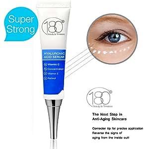 Siero di acido ialuronico FORTE per viso e occhi - 180 Cosmetics - Siero antietà della pelle con acido ialuronico concentrato e vitamina C - Idrata e rassoda - Riduce le rughe e le linee sottili