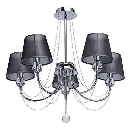 moderner-stilvoller-kronleuchter-5-flammig-chromfarbiges-metall-graue-textilschirme-aus-organza-klar
