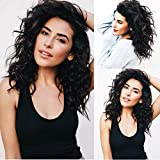 Andrai Hair Wavy Wig Lace Front Wigs Glueless Shoulder Length Medium Long Bob Body Deep Wave Narutal Color Synthetic Heat Resistant Fiber Water Wave Hair Wig With Baby Hair For Black Women 16Inch