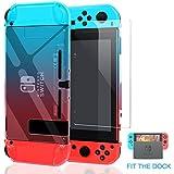 Nintendo Switch Cas Dockable [mise à jour], YUANHOT Pour Nintendo Switch et Protection 1Pack - Contrôleur de Verre Trempé avec Joie et écran Protecteur (Blue)