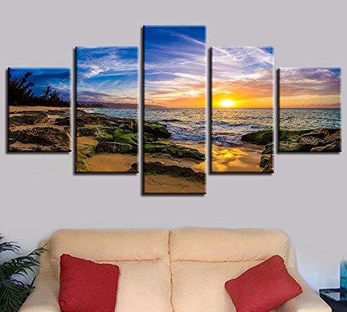 Cinq peintures consécutives Peinture décorative Paysage marin Jet d\'encre Cinq en un Paysage de plage