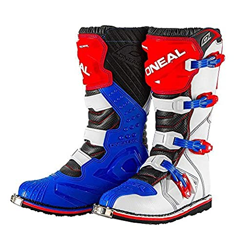 Men's Motorcycle Boots O'NEAL Rider Adult Motocross Motorbike Quad Dirt Bike Off Road Enduro Boots in Blue/Red/White (EU 42 / UK