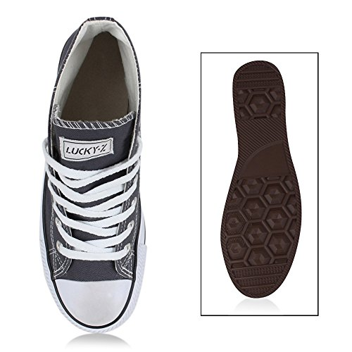 Sportliche Damen Sneakers |Stoffschuhe Camouflage Schnürer | Sneaker High Neon | Sportschuhe Dunkelgrau