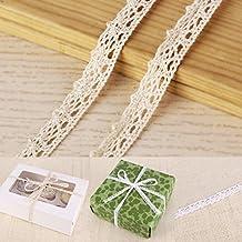 CLE DE TOUS - Rollo Encaje de bolillo de algodón 10 metros 1,5cm de ancho para regalo coser ropa scrapbooking manualidades (Marfil)