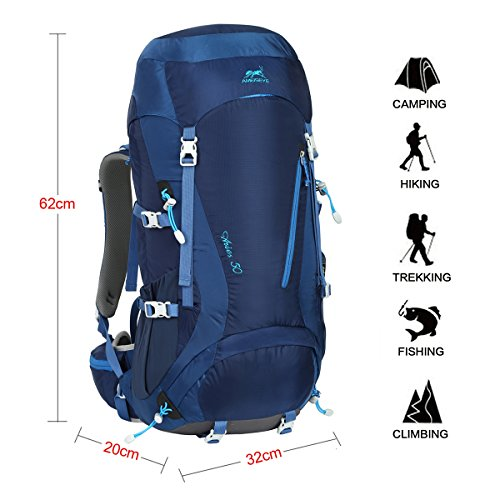 Imagen de eshow  de 50 litros de senderismo nailon hombre  de acampada 50l impermeable de montanismo trekking deportesexcursion