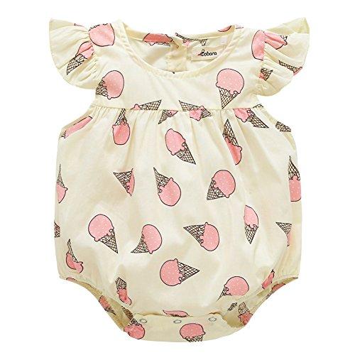 Allouli Newborn Baby Girls Bodysuit Romper Ice Cream Printed Ruffle Jumpsuit (Printed Romper)
