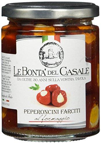 Le Bonta'del Casale Peperoncini al Formaggio in Olio - Kirschpaprika mit Frischkäse, 1er Pack (1 x 280 g)