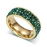 Aooaz Schmuck Damen Ring,3 Kreise Kristall Vergoldet Edelstahl Ehering Verlobungsringe für Damen Grün Größe 54(17.2)