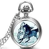 JewelryWe Damen Herren Taschenuhr Emaille Doppel laufende Pferden Uhranhänger Quartz Legierung Kettenuhr Uhr Halskette