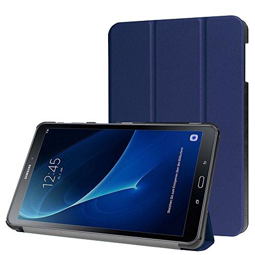 Samsung Galaxy Tab A 10.1 Hülle, HZSSEC Smart Case Cover für Samsung Galaxy Tab A 10,1 Zoll (2016) Wi-Fi/ LTE T580N/ T585N Tablet, PU Leder Etui Schutzhülle Tasche mit Auto Schlaf / Wach Funktion - Dunkelblau
