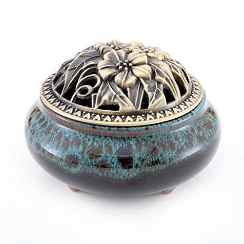 Keramik Räuchergefäß, Klassische Räucherstäbchenhalter Weihrauch Brenner Halter Porzellan Räucherschale Asiatisch Räuchergefäß mit Messing-Farbe Ministänder Deckel für Home Decor Geschenk (Blau) -