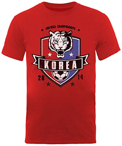 Football Fan Herren T-Shirt World Cup Football 2014 Korea Republic Shield Mens T-shirt Rot - Rot