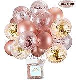 AUSYDE Or Rose Ballons et Ballons confettis Ballons en Latex pailleté Pouces 30 cm pour Douche de bébé Douche Nuptiale décorations 30pcs. …
