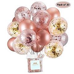 Idea Regalo - Palloncini in Oro Rosa e coriandoli Palloncini in Lattice Glitterato 30,5 cm per Baby Shower Addio al Nubilato Decorazioni per Feste di Compleanno 30 Pezzi