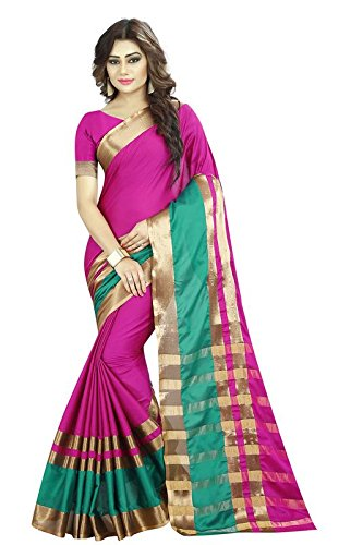 The Fashion Outlets Cotton Silk Saree With Blouse Piece (_Pink_Free Size)