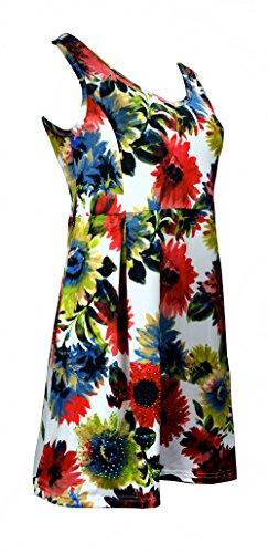 Mesdames col en V Robe sans manches imprimé fleurs-Tara Multicolore