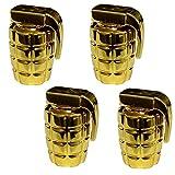 Aerzetix - 4 Cappucci delle valvole auto bicicletta moto a forma di granata dorato